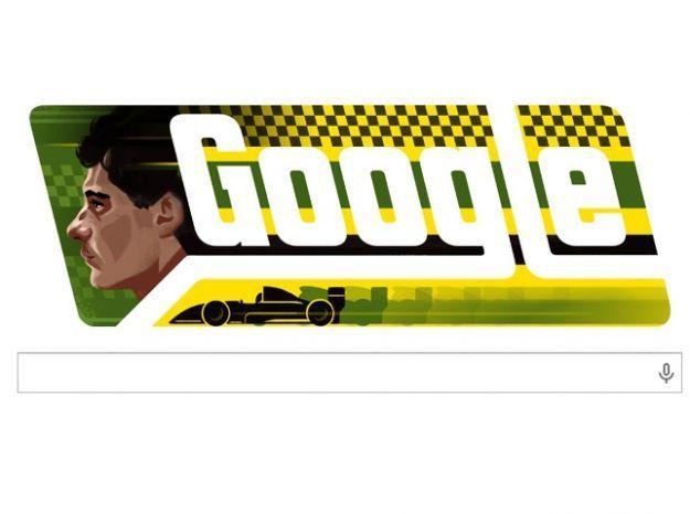 Google Doodle per Ayrton Senna, il pilota brasiliano oggi compirebbe 54 anni
