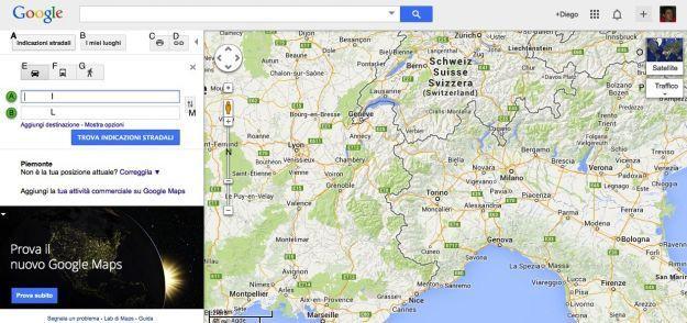 Google Maps per le indicazioni stradali e per calcolare gli itinerari