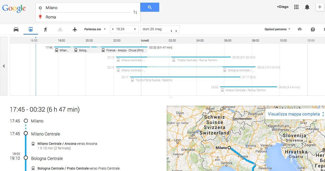Google Maps itinerario