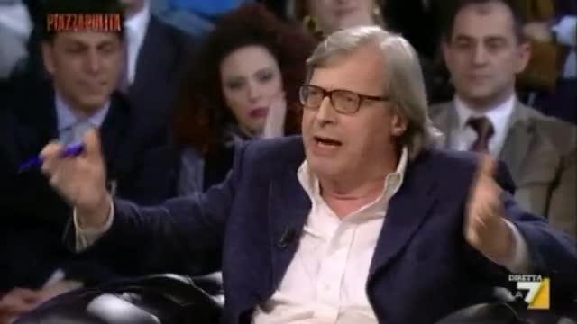 Sgarbi a Piazzapulita, si infuria contro l'Euro e abbandona il palco