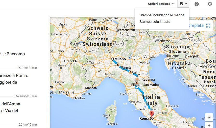 Stampa percorso su Google Maps