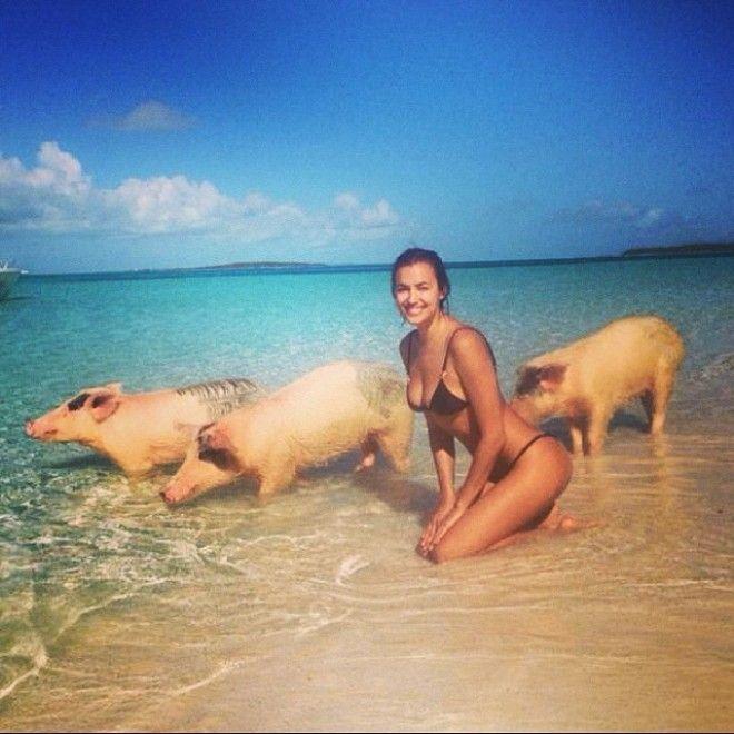 Irina Shayk fa il bagno con i maiali alle Bahamas