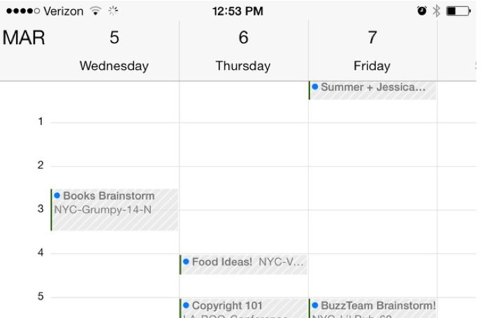Calendario visualizzazione orizzontale