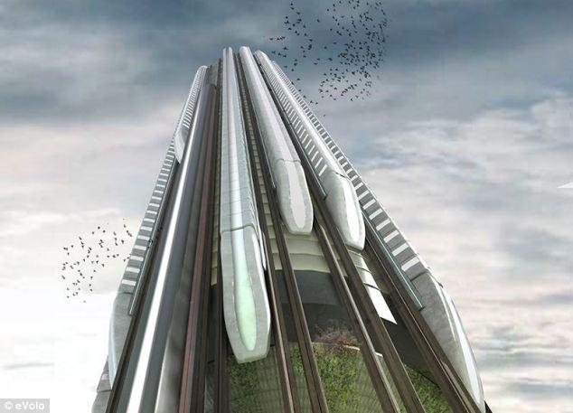 Metro che sale grattacielo