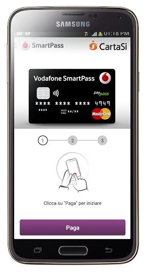 Smartphone con tecnologia NFC e app Vodafone
