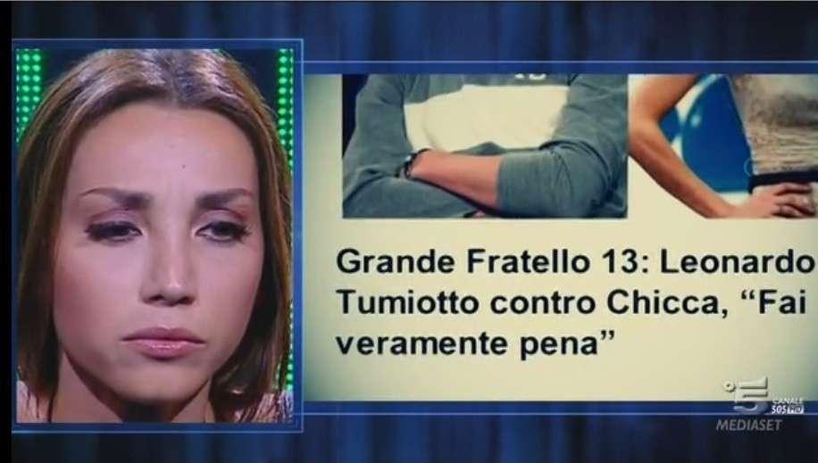 Leonardo Tumiotto contro Chicca Rocco del GF 13: 'Mi fai pena!'. Ma poi ritratta