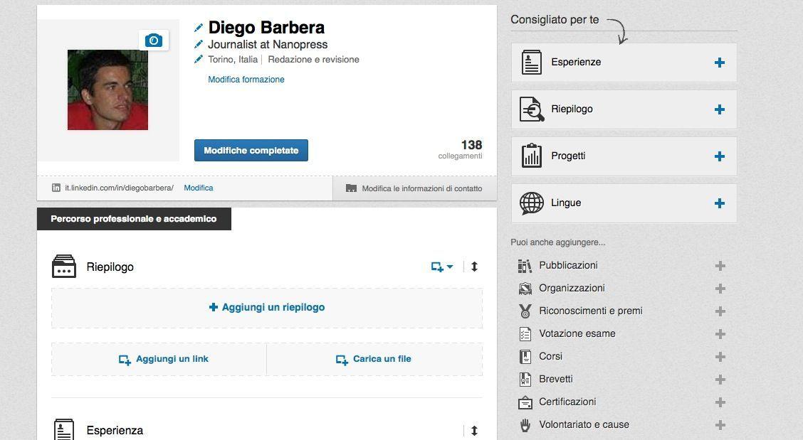Compilazione profilo Linkedin