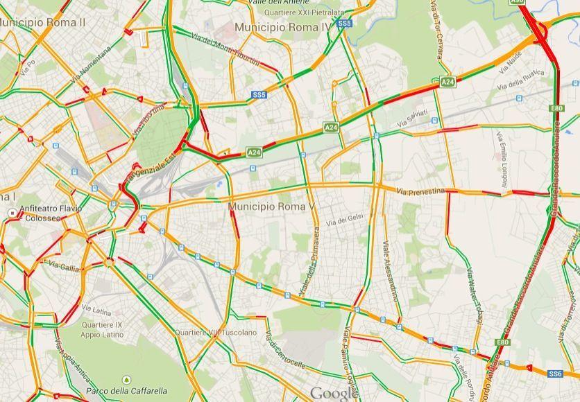Google Maps colori traffico
