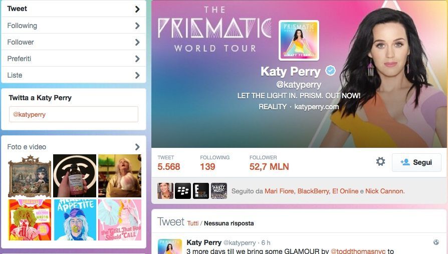 Katy Perry pagina ufficiale su Twitter