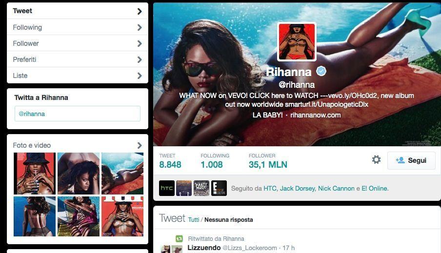 Rihanna pagina Twitter