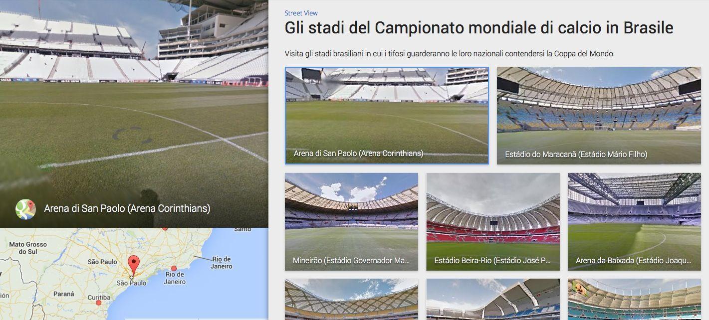 Google Maps stadi Mondiali 2014