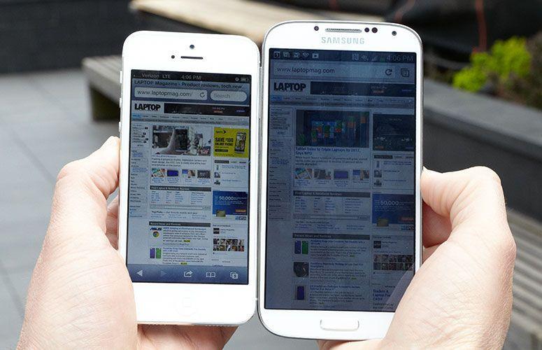 Samsung Galaxy S4 vs iPhone 5S display