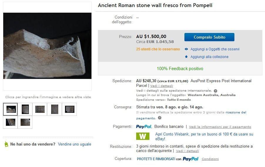 Pompei, affresco in vendita su eBay: indagano i carabinieri