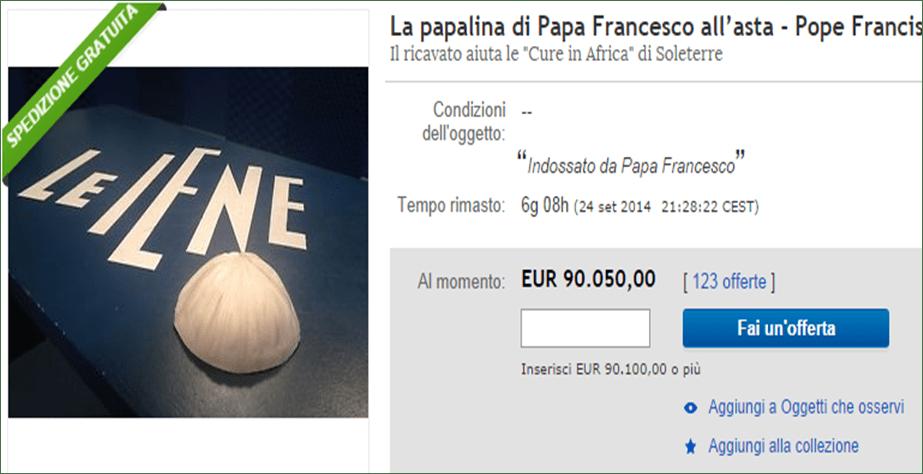 Le Iene, all'asta la papalina di Papa Francesco: chi offre di più per lo zucchetto del Pontefice