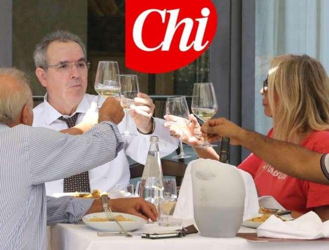 Lamberto Sposini e Mara Venier a pranzo