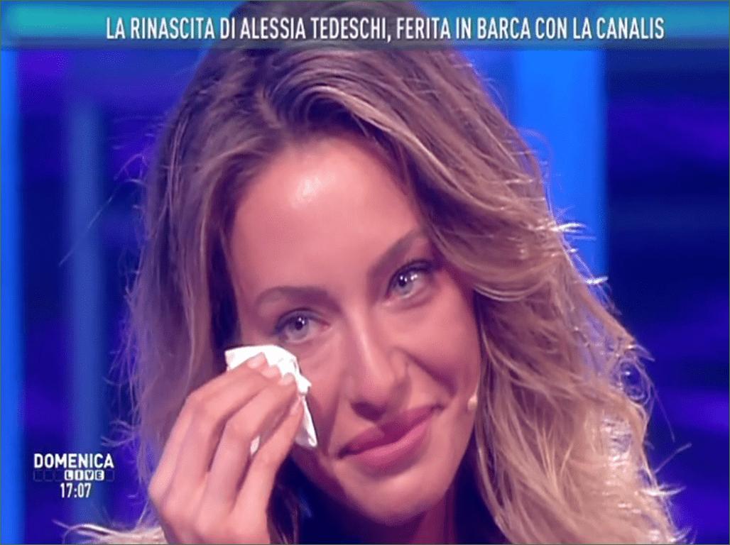 Alessia Tedeschi a Domenica Live, l'intervista dopo l'incidente in barca con Elisabetta Canalis