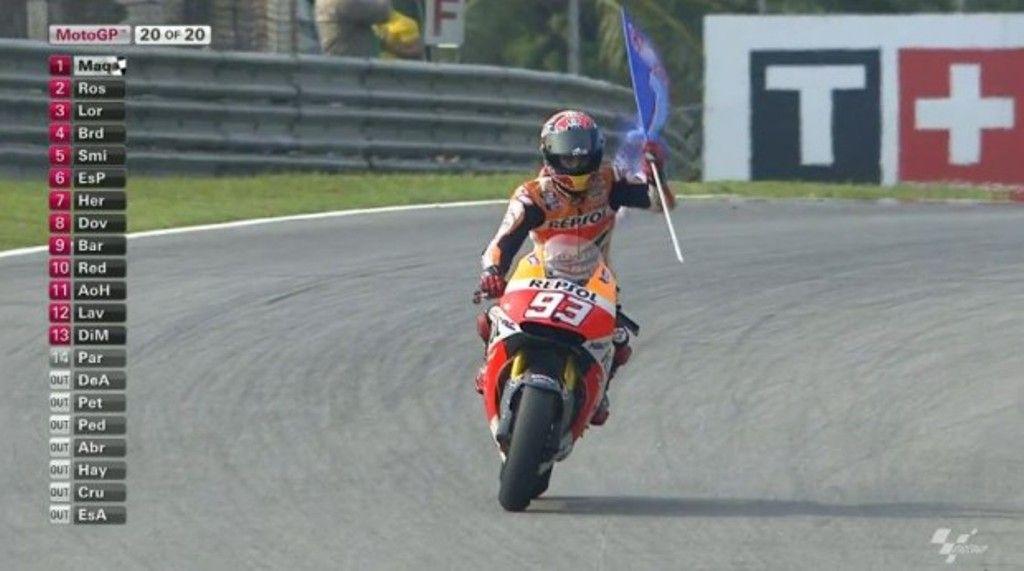 MotoGP Sepang 2014, gara: Marquez altro record, Valentino Rossi 2°