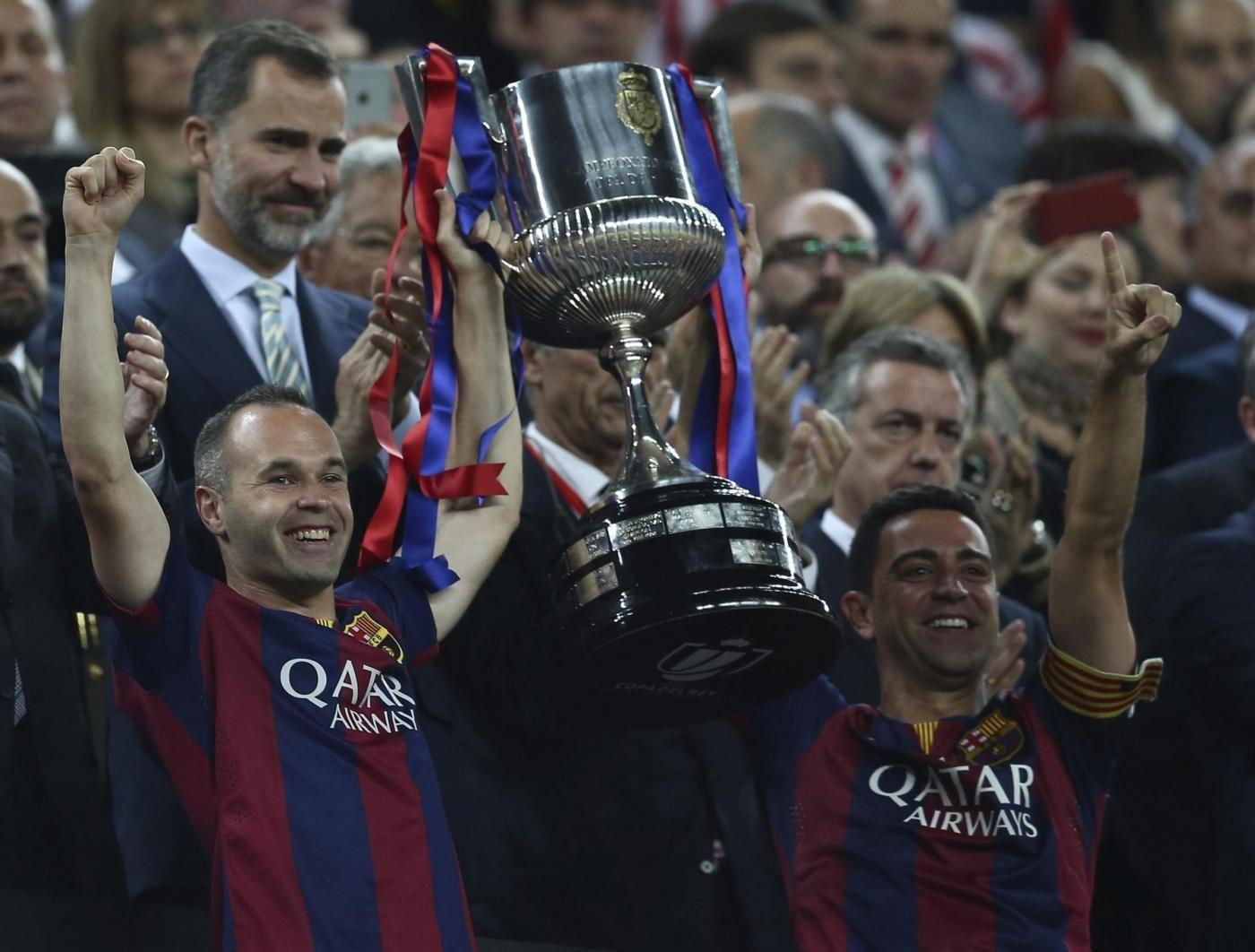 Il Barcellona festeggia la vittoria della Coppa del Re