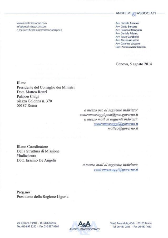 alluvione di genova la lettera a renzi sui lavori del bisagno 1 638
