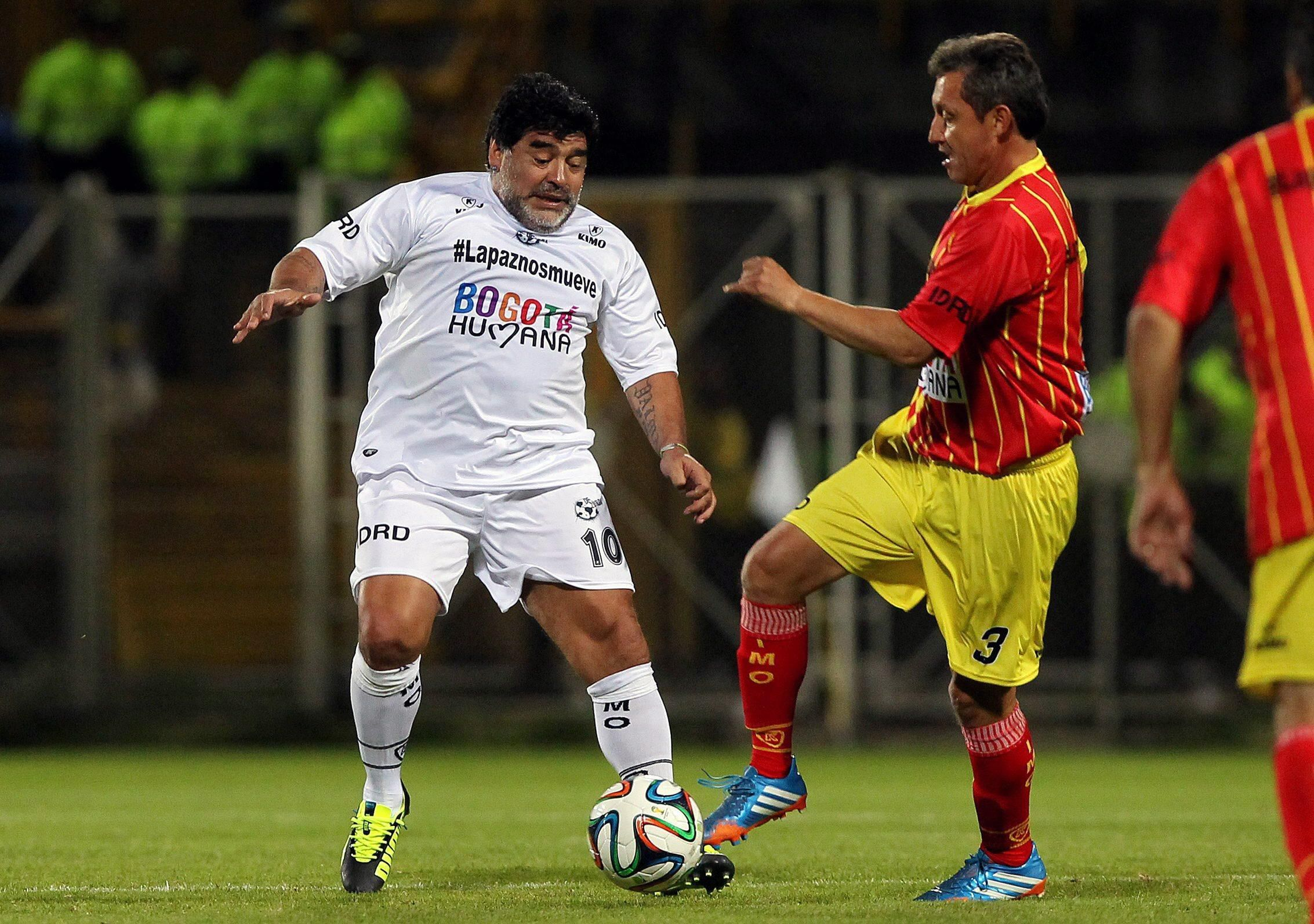 Former Argentinian soccer player Diego Armando Maradona in Colombia
