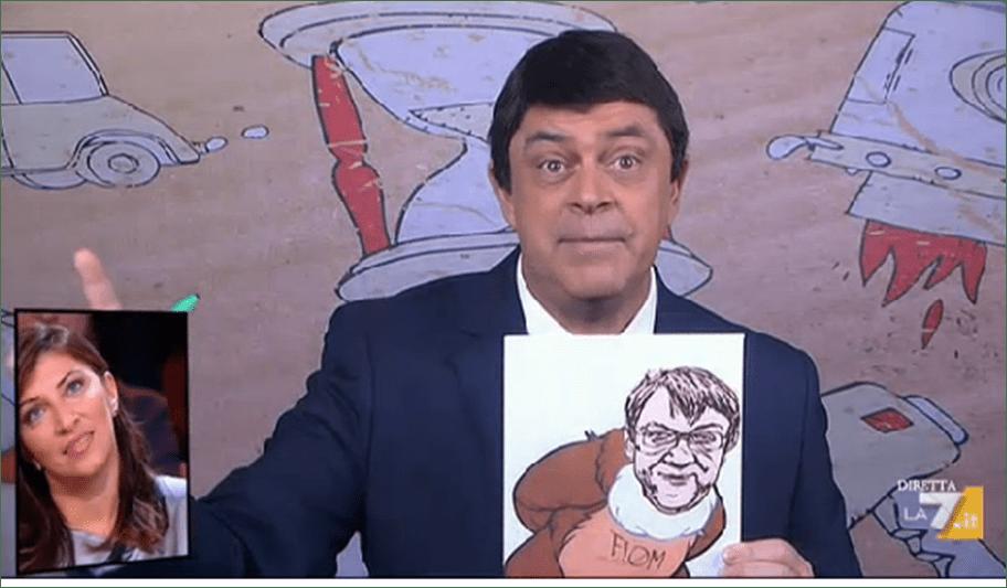 Maurizio Crozza a diMartedì, la copertina a La 7: Renzi e i colori per il disegno SpaccaItalia