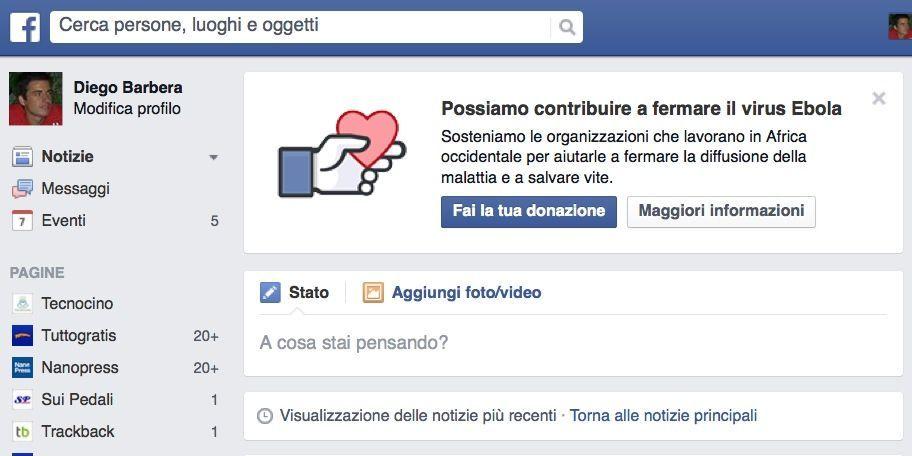 Facebook apre alle donazioni per fermare il virus Ebola