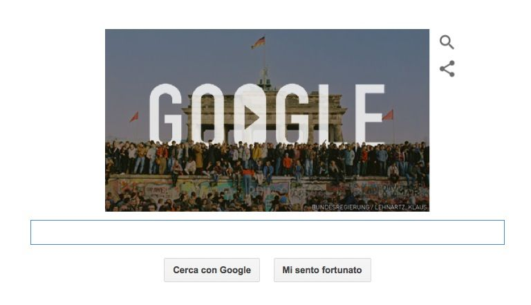 Google Doodle per la caduta del Muro di Berlino
