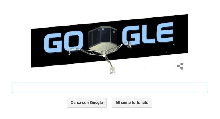 Google Doodle per il lander Philae, Rosetta e la cometa