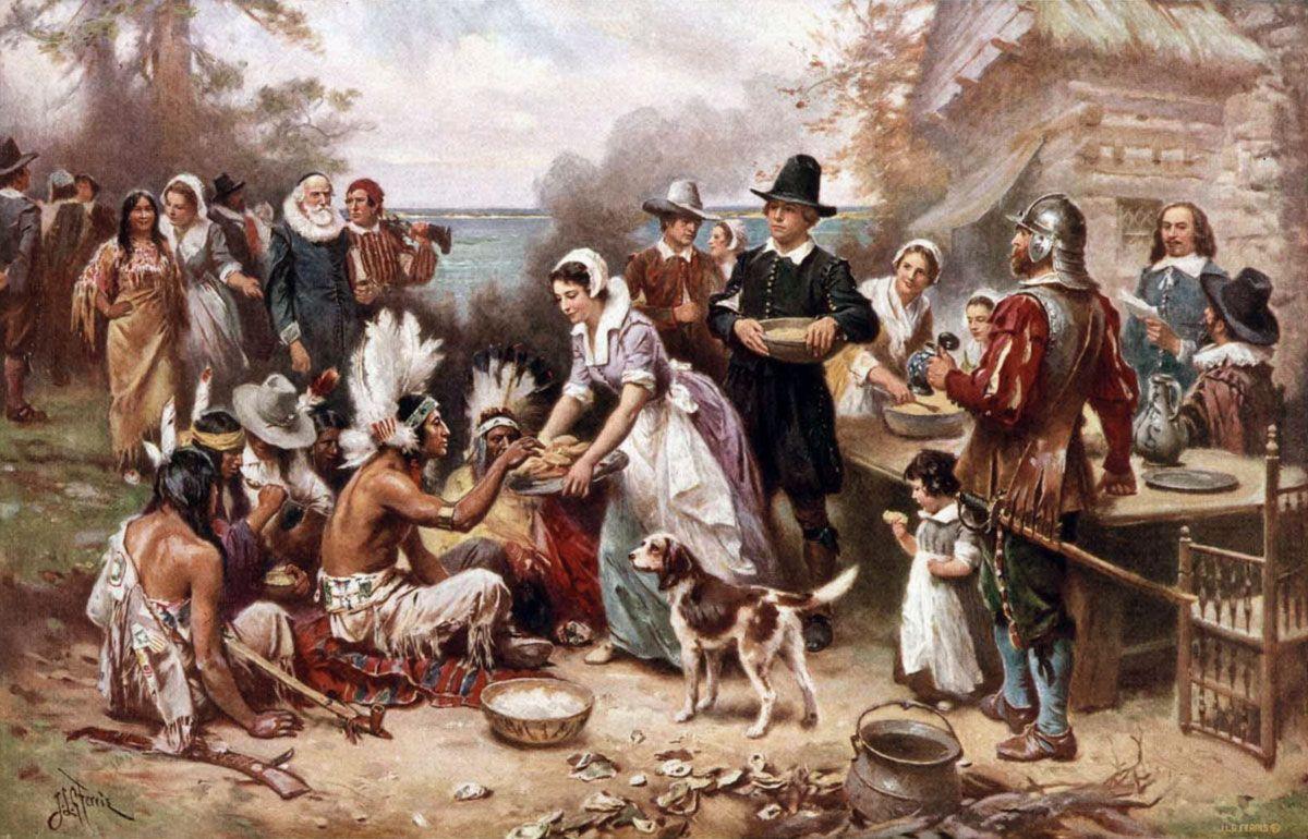 thanksgiving giorno del ringraziamento padri pellegrini e nativi americani