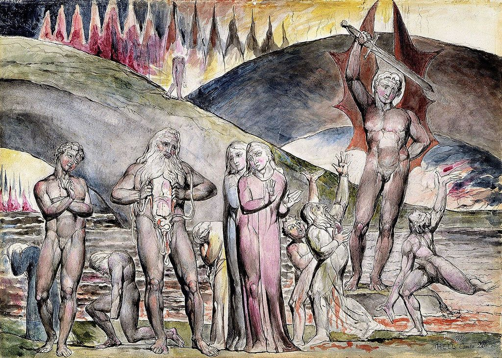 Dante and Virgil Meet Muhammad and His Son in law Ali in Hell william blake