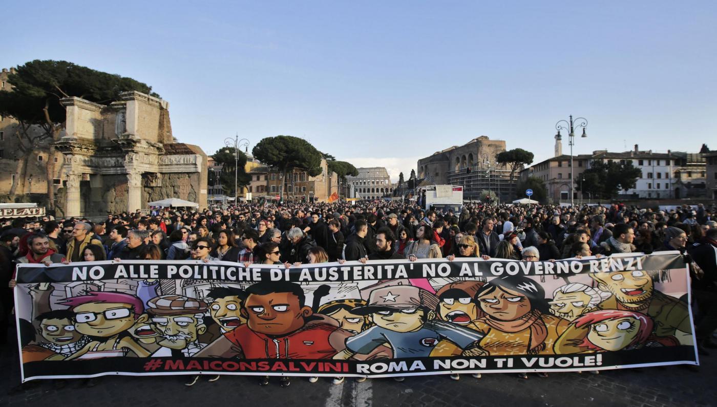 Manifestazione contro Lega maiconsalvini