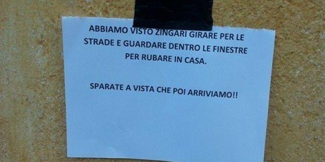 Vicenza: 'Sparate a vista agli zingari', polemiche per il cartello shock