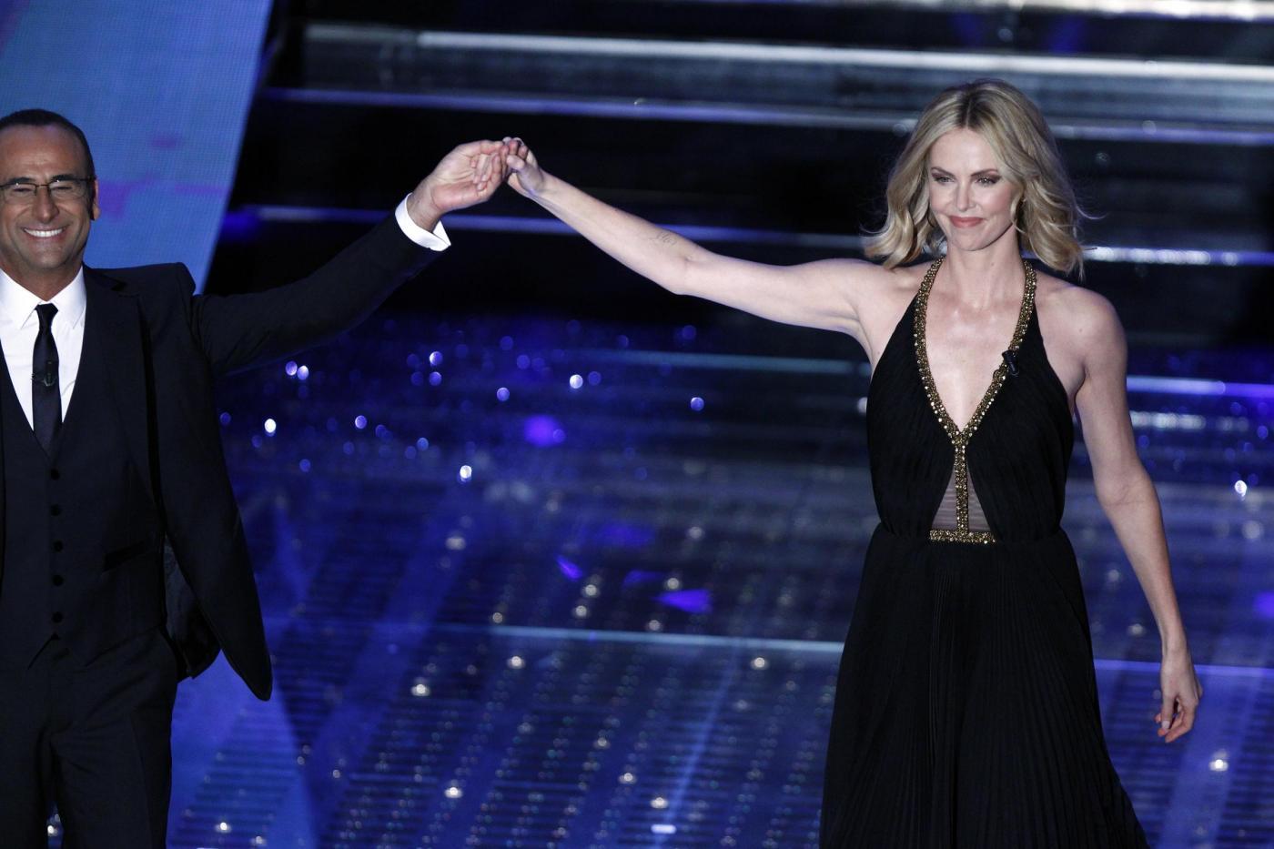 Sanremo 2015 seconda serata: Charlize Theron regina dell'Ariston