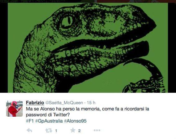Alonso non dimentica la password di Twitter