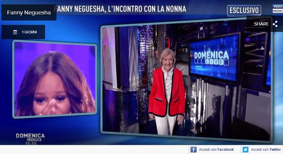 Fanny Neguesha a Domenica Live: nonna a sorpresa e ballo finale