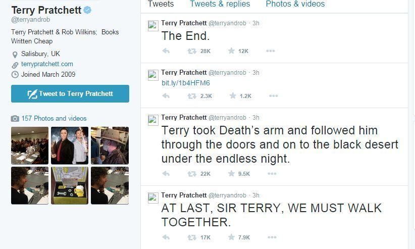 Terry Pratchett la morte su Twitter