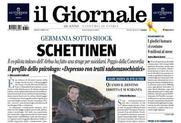 Il Giornale apre la prima pagina con 'Schettinen': molte le polemiche