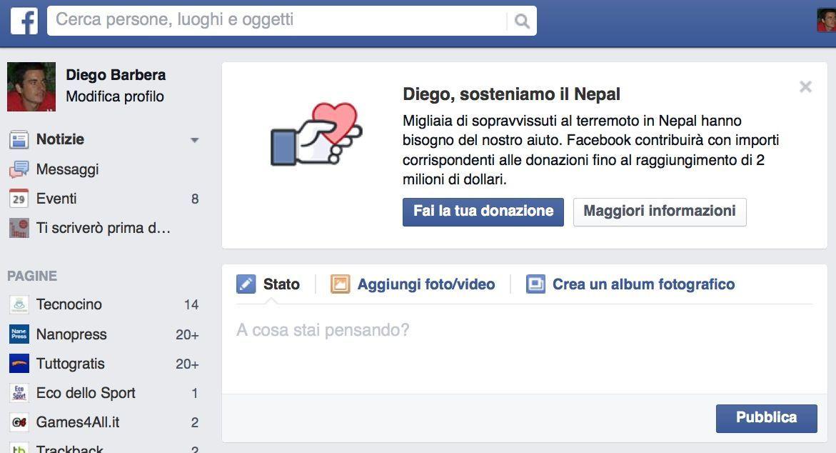 Facebook in soccorso del Nepal con donazioni e avvisi alle famiglie