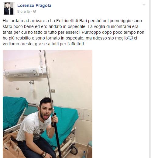 Lorenzo Fragola, malore a Bari: il cantante tranquillizza i fans su Facebook