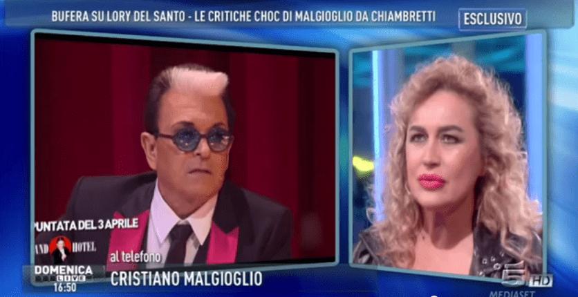Lory Del Santo e Cristiano Malgioglio a Domenica Live: lo scontro per The Lady