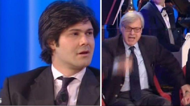 Vittorio Sgarbi al Maurizio Costanzo Show: litiga col figlio e poi lascia lo studio