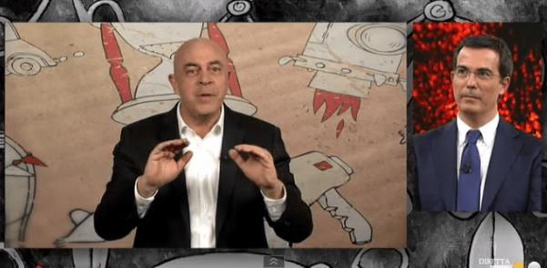 Maurizio Crozza a diMartedì del 21 aprile 2015: Renzi Voltaire e il paradosso della legge elettorale