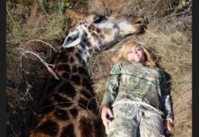Rebecca Francis, cacciatrice che posa sorridente con la giraffa uccisa