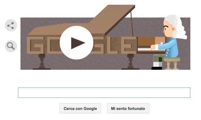 Google Doodle per Bartolomeo Cristofori, inventore del pianoforte