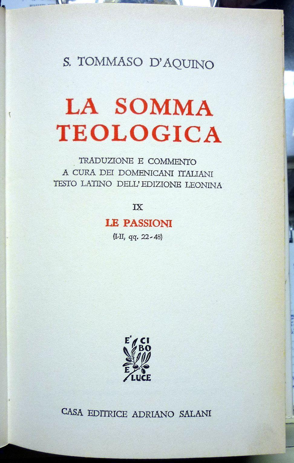 San Tommaso dAquino La Somma Teologica