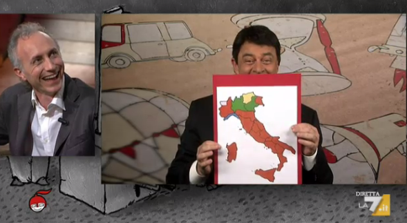 Crozza a diMartedì del 2 giugno 2015: Renzi e De Luca dopo le elezioni