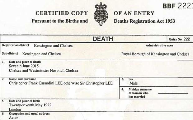 Christopher lee certificato morte