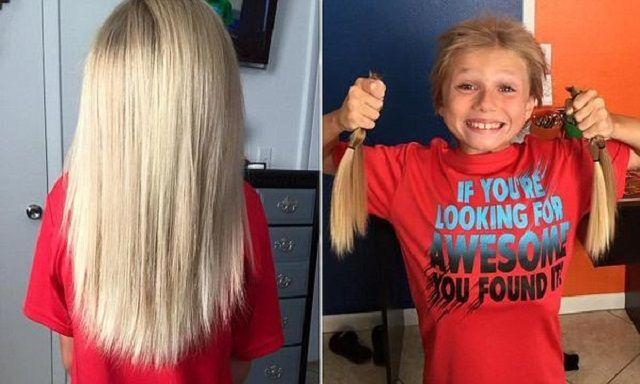 I capelli di Christian McPhilamy (8 anni) per i bambini malati di cancro
