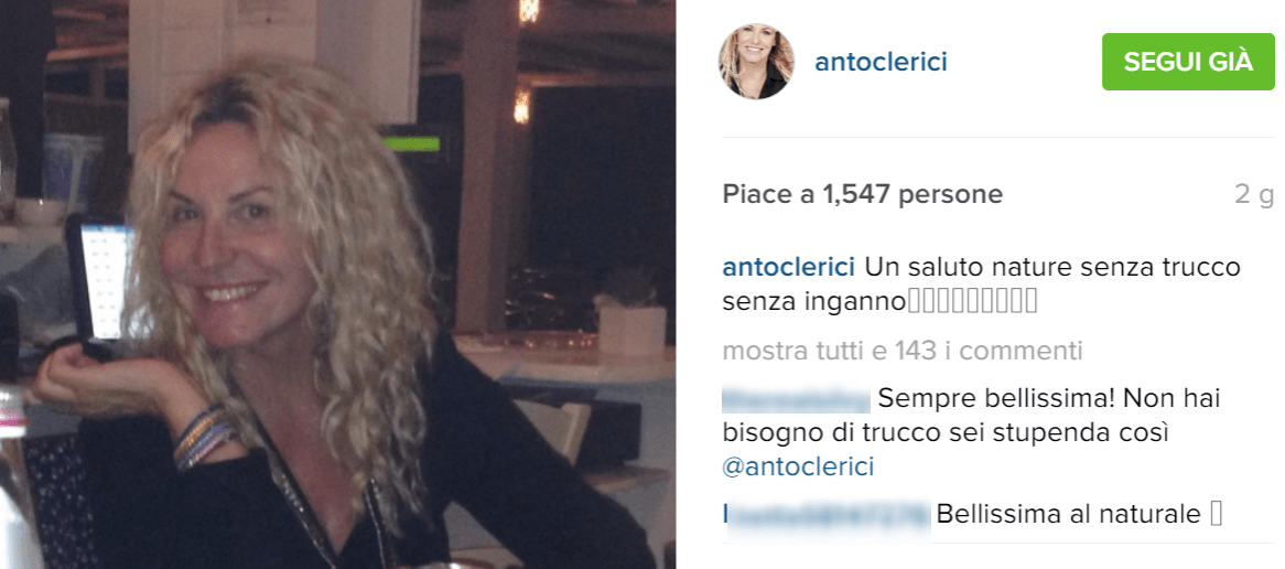 Antonella Clerici senza trucco su Instagram: 'Un saluto nature, senza inganno'
