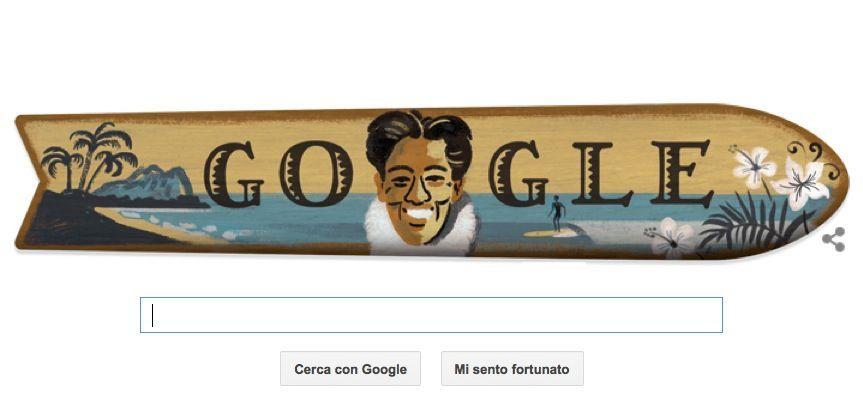 Google Doodle per Duke Kahanamoku, l'inventore del surf